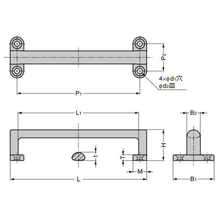 ランプ印 ステンレス鋼製ハンドル FT-R型 取付部内側タイプ FT-R-120