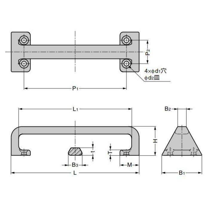 ランプ印 ステンレス鋼製ハンドル FT-T型 取付部内側タイプ FT-T-220