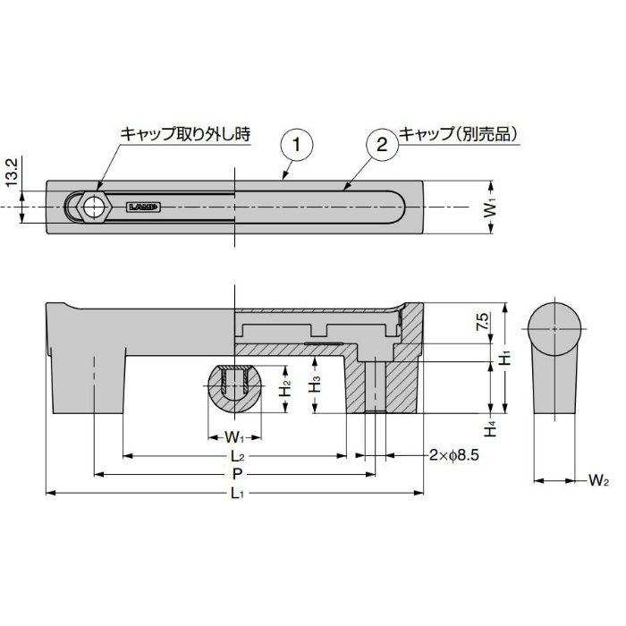 ランプ印 ハンドル CJH型 キャップ ブラック CJHC-117BL