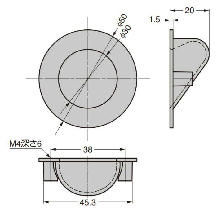 HEWI 埋込取手 MN1116Z50型 ブラック MN1116Z50E228