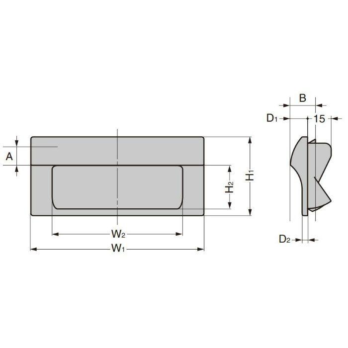 ランプ印 埋込取手 HH-JW型 ワンタッチ取付 ブラック HH-JW140-BL