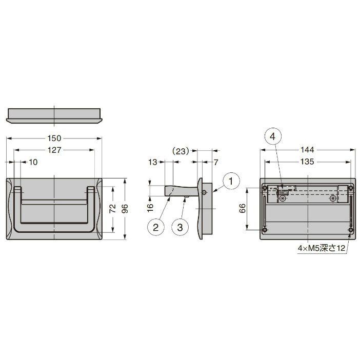 ランプ印 ステンレス鋼製トランクハンドル HCT-150 高耐荷重仕様 HCT-150
