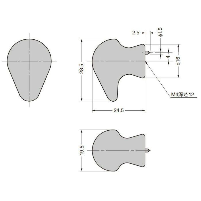真鍮つまみ B046型 真鍮磨き B046-30PB
