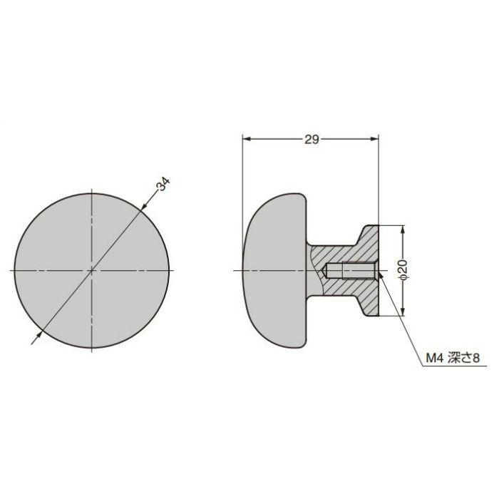 つまみ CAKB-I-2866-34-I C&Aウェールズデザイン CAKB-I-2866-34-I
