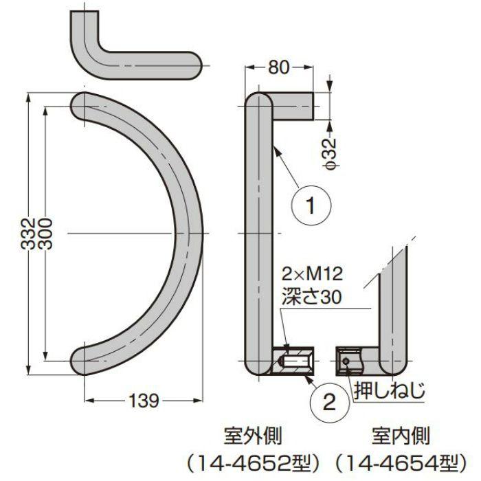 ステンレス鋼製 ドアハンドル 14-465型 木製ドア用 両面取付 座なし 14-465-WW 室内・室外セット