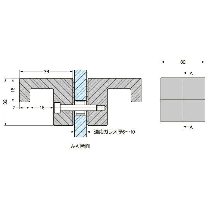 P&S ガラスドア用ノブ 8252MS7 8252MS7 2ヶ(両面付け)