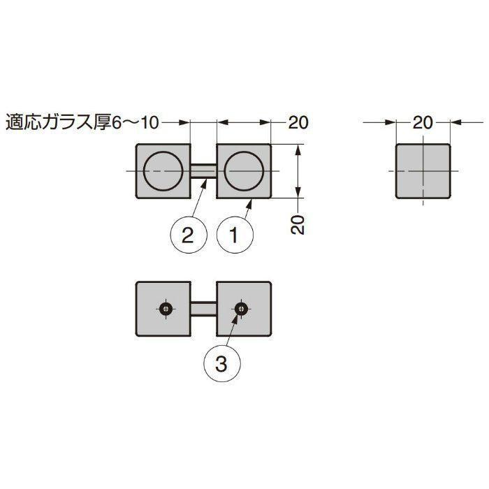 ガラスドア用つまみ M5Q12-14 M5Q12-14 2ヶ(両面付け)