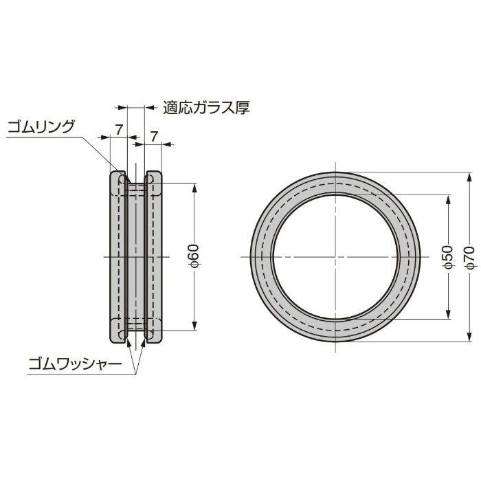 P&S ガラスドア用引手 32028型 32028VA-10 2ヶ(両面付け)