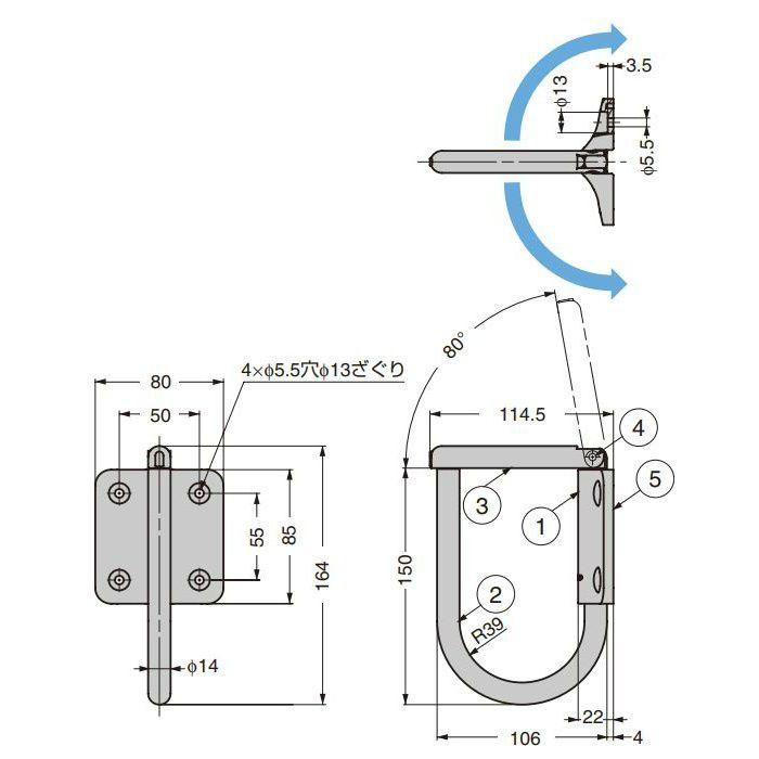 ランプ印 ステンレス鋼製ジャンボナス環フック JN-T100 フリクション式 JN-T100