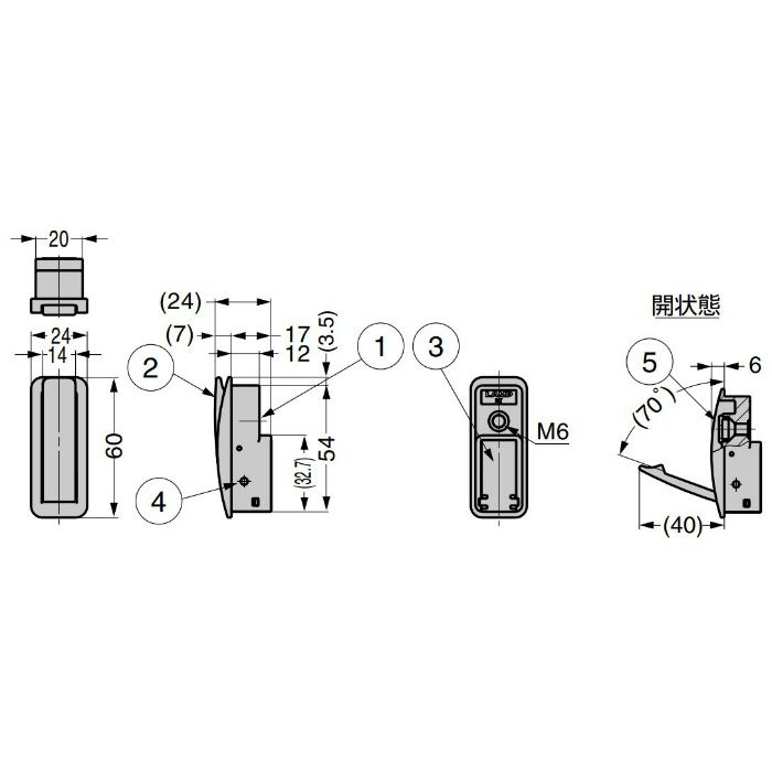 ランプ印 収納フック NF-60D型 ソフトクロージング機構付 シルバー NF-60D-SL