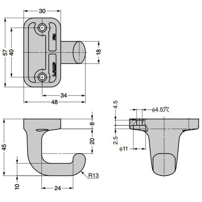 ランプ印 樹脂製フック HK-CM40型 ダークグレー HK-CM40-DG