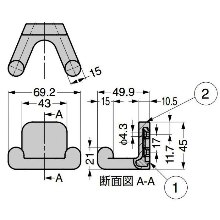 ランプ印 フック PXB-GR05-212型 ツインタイプ ゴムレンジャー®シリーズ セット(フック本体+カバー) ブライトブルー PXB-GR05-212-BBU