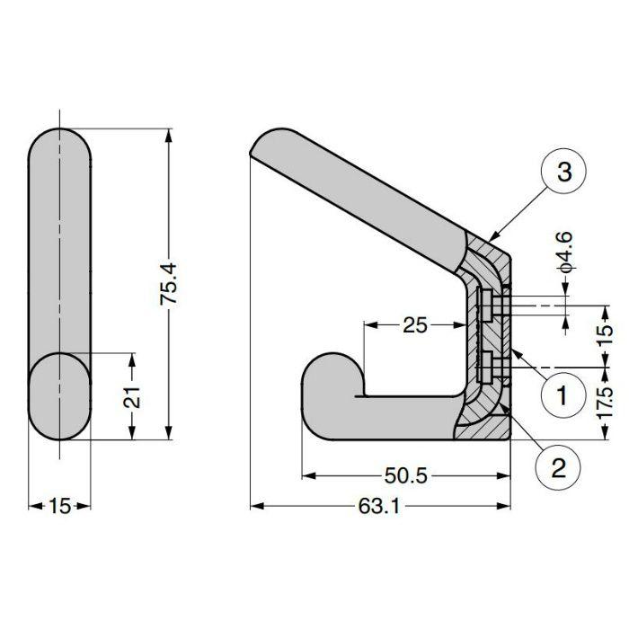 ランプ印 フック PXB-GR05-211型 ダブルタイプ ゴムレンジャーシリーズ セット(フック本体+カバー) ブラック PXB-GR05-211-BL
