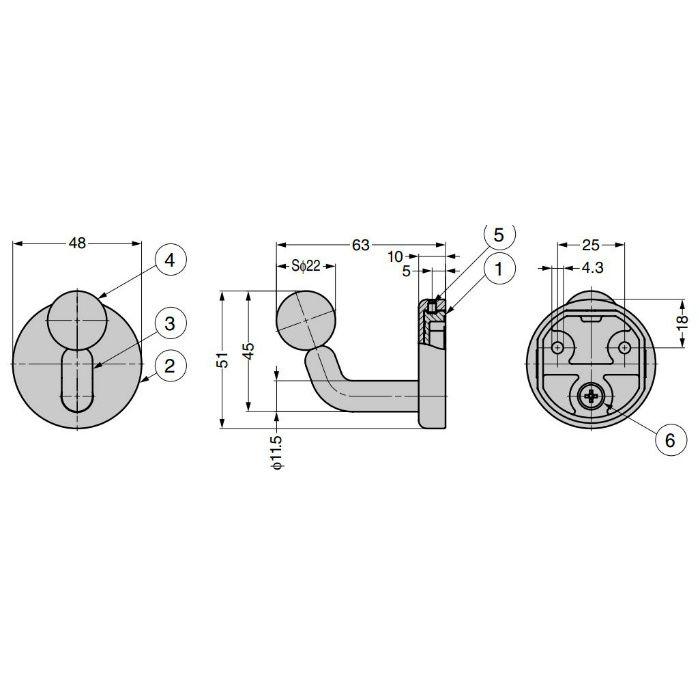 ランプ印 玉付フック PXB-QL05-111型 PXB-QL05-111-CR
