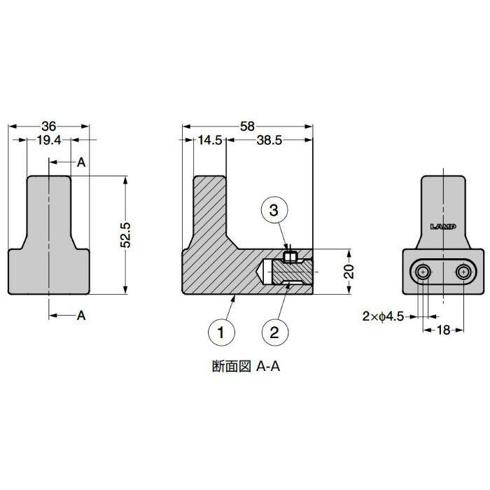 ランプ印 フック PXB-AC05-111型 エイジドキャストシリーズ ブロンズブラック PXB-AC05-111-BL