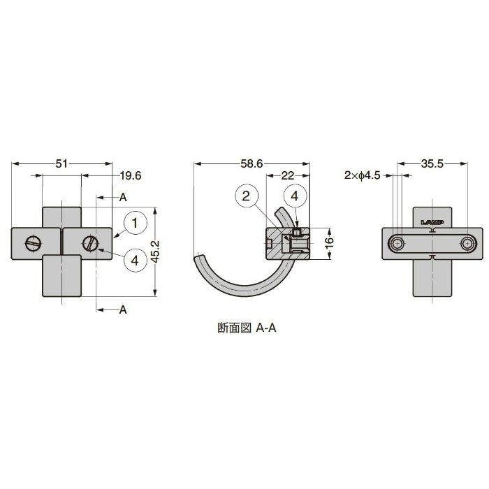 ランプ印 フック PXB-AS05-111型 エイジドスクリューシリーズ ブロンズブラウン PXB-AS05-111-BR