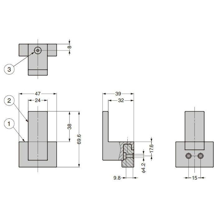 ランプ印 フック PXB-UM05-101型 アーバンメタルシリーズ PXB-UM05-101-ST