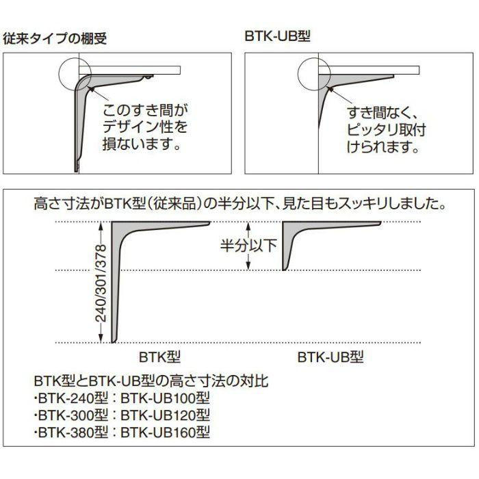 ランプ印 鋼製棚受 BTK-UB型 コンパクトタイプ ブラック BTK-UB120B