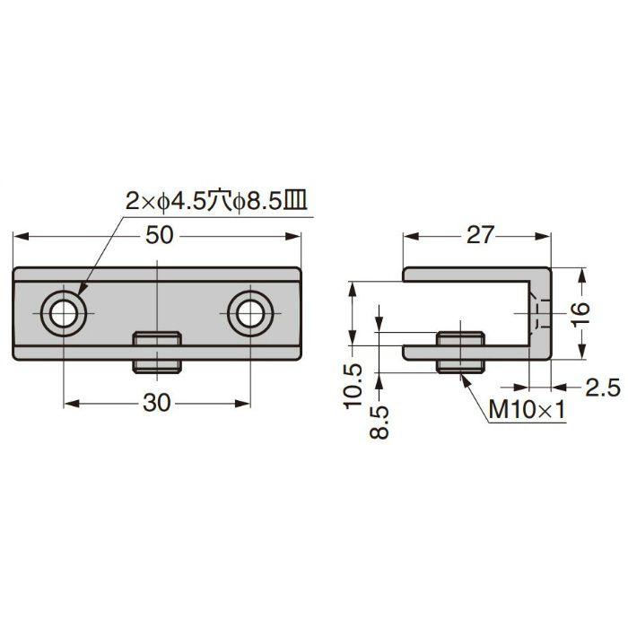 P&S プレートサポート ガラス用棚受 強化ガラス棚板セット 2884型+GSH150型 2884VA2-450-SET