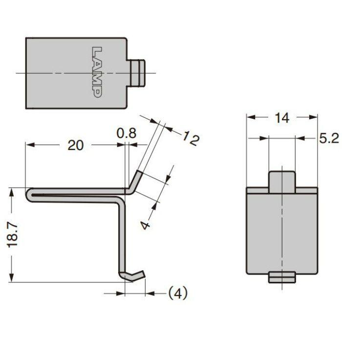 ランプ印 ステンレス鋼製棚受 SPB-20型 ステンレス鋼製棚柱 SP型、SPS型用 SPB-20