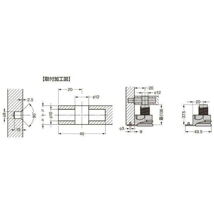 ITALIANA 締結金具 IT2180-7160 高さ調整機能付 IT2180-7160