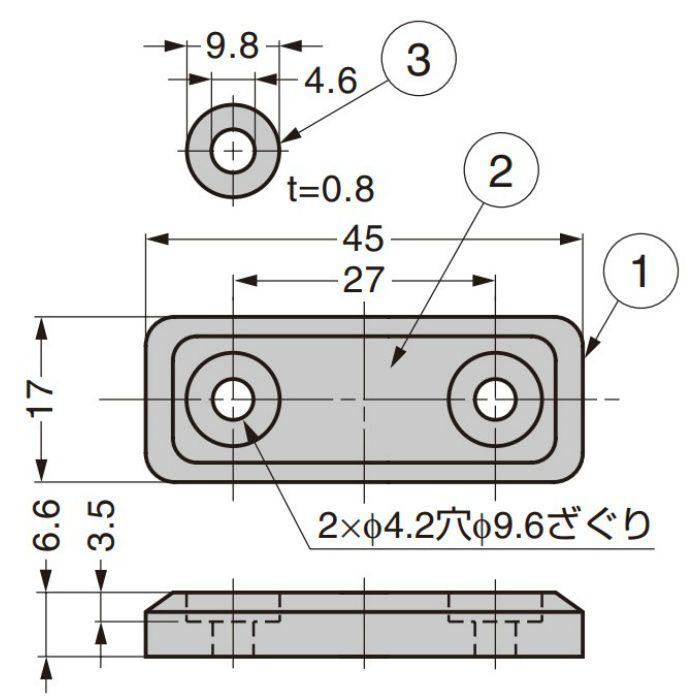 ランプ印 シリコーンマグネットキャッチ MC-MS45型 ダークグレー MC-MS45DGR