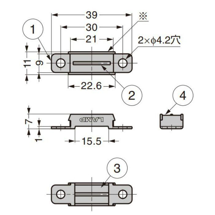 ランプ印 ステンレス鋼製 小型マグネットキャッチ MC-YN005型 センターヨーク型 MC-YN005-N