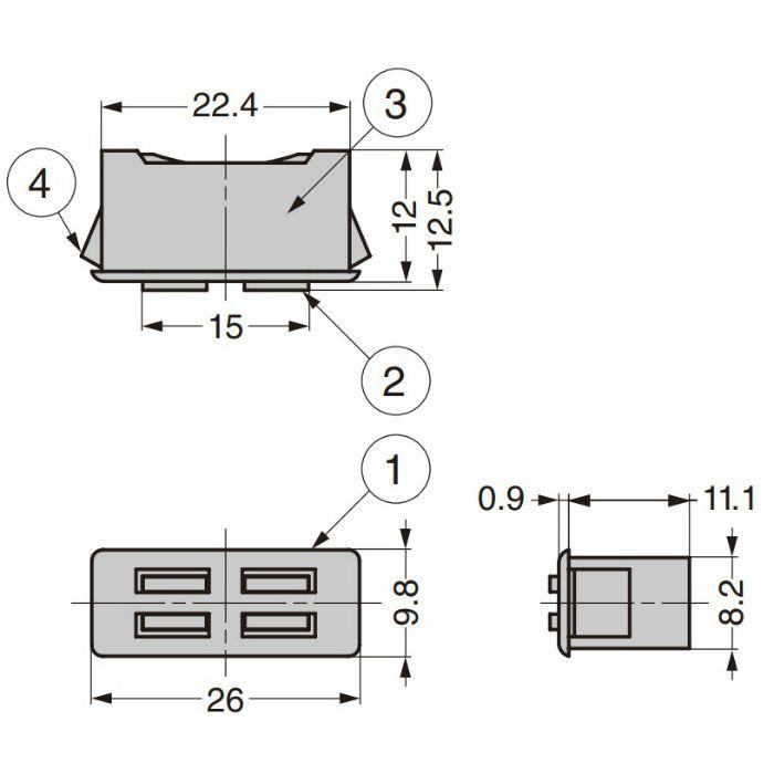 ランプ印 マグネットキャッチ MC-FS34型 ワンタッチ取付 MC-FS34WW