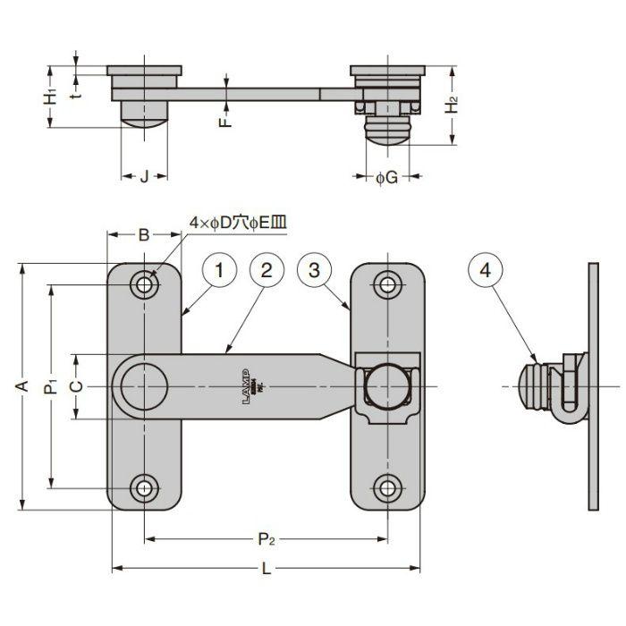 ランプ印 ステンレス鋼製 打掛 BLT型 BLT-45