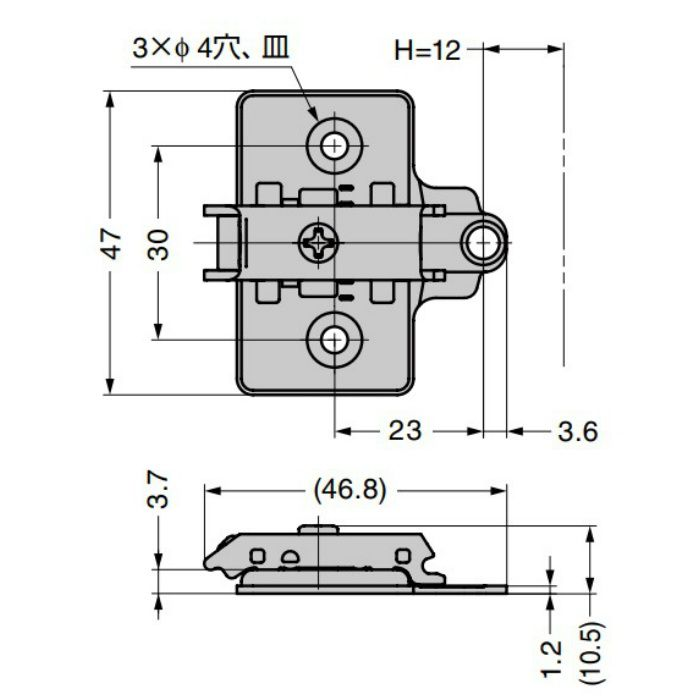 ランプ印 マウンティングプレート 360-P4W-30T オリンピアシリーズ用 システム30タイプ 360-P4W-30T