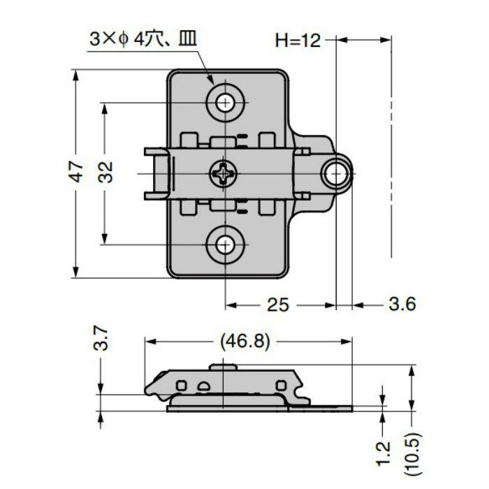 ランプ印 マウンティングプレート 360-P4W-32T オリンピアシリーズ用 システム32タイプ 360-P4W-32T