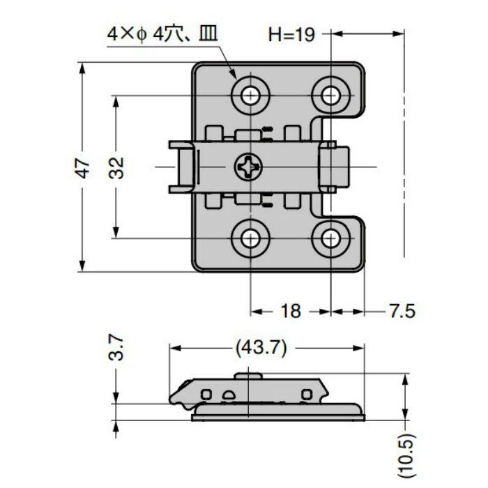 ランプ印 マウンティングプレート 360-P6WT オリンピアシリーズ用 システム32・4つ穴タイプ 360-P6WT