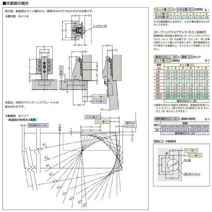 ランプ印 重量用ワンタッチスライド丁番 J95 95°開き 16mmかぶせ J95-C24/16T