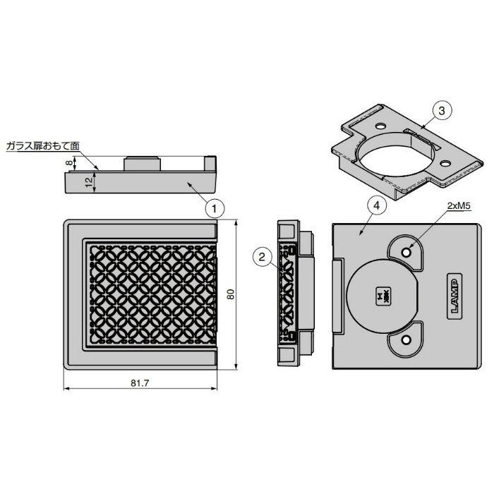 ランプ印 ガラス扉用フェイスプレート GH-J95FP-Q1型 J95シリーズ アーバンメタルクエストシリーズ GH-J95FP-Q1-BL