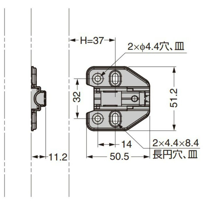 ランプ印 マウンティングプレート 150-P6W-32TH+2 151シリーズ システム32.2mm厚 150-P6W-32TH+2