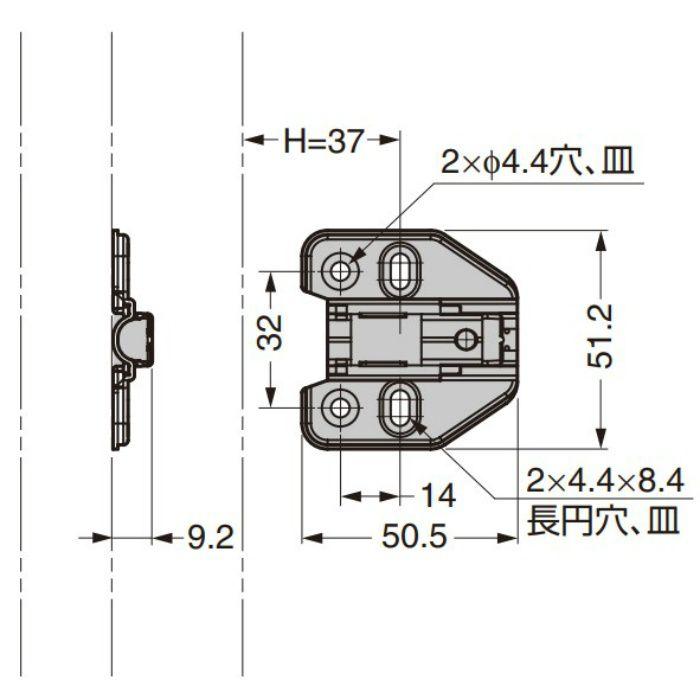 ランプ印 マウンティングプレート 150-P6W-32TH 151シリーズ システム32.0mm厚 150-P6W-32TH