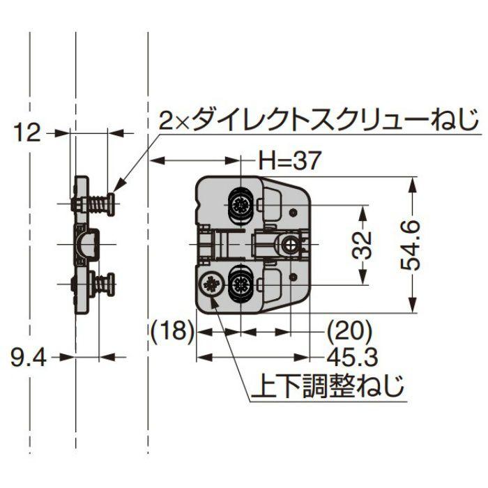 ランプ印 マウンティングプレート 150-P4W-32TH DS6.4×12 151シリーズ システム32・0mm厚、ダイレクトスクリューねじ付 150-P4W-32TH DS6.4×12