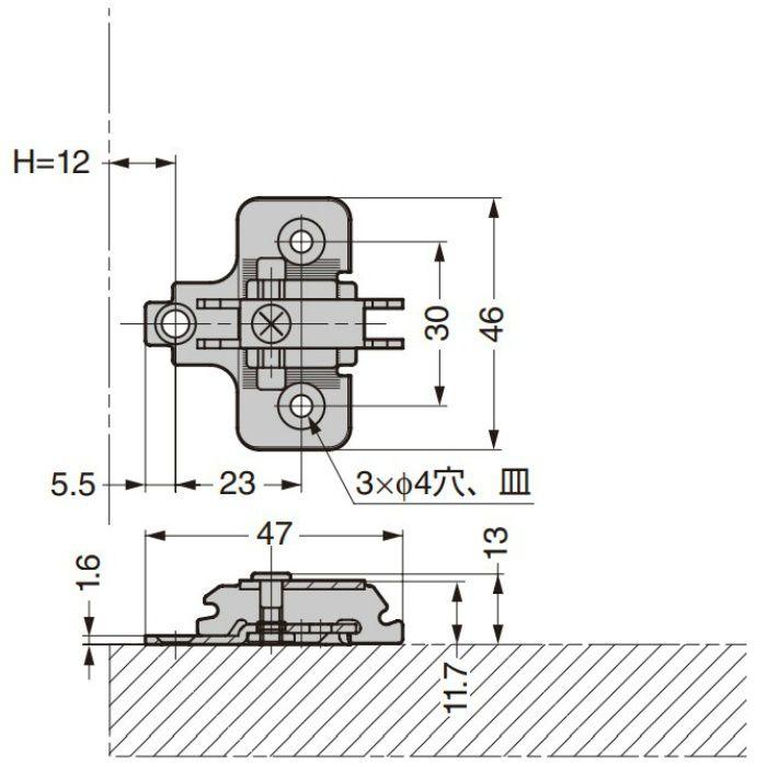 ランプ印 マウンティングプレート 230-P4W-30T型 230シリーズ システム30 230-P4W-30T BN
