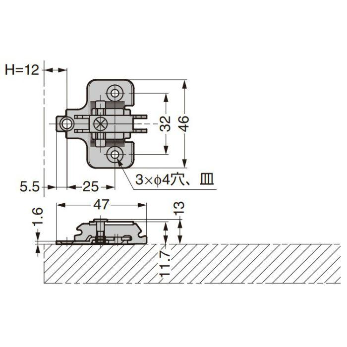 ランプ印 マウンティングプレート 230-P4W-32T型 230シリーズ システム32 230-P4W-32T