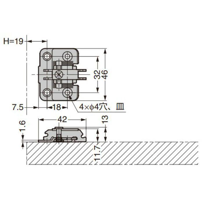 ランプ印 マウンティングプレート 230-P6WT型 230シリーズ システム32・4つ穴 230-P6WT BN