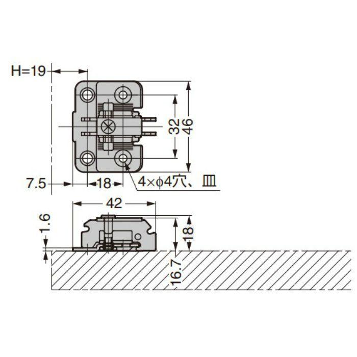 ランプ印 マウンティングプレート 230-P6WT+5 230シリーズ システム32・4つ穴、5mm厚 230-P6WT+5