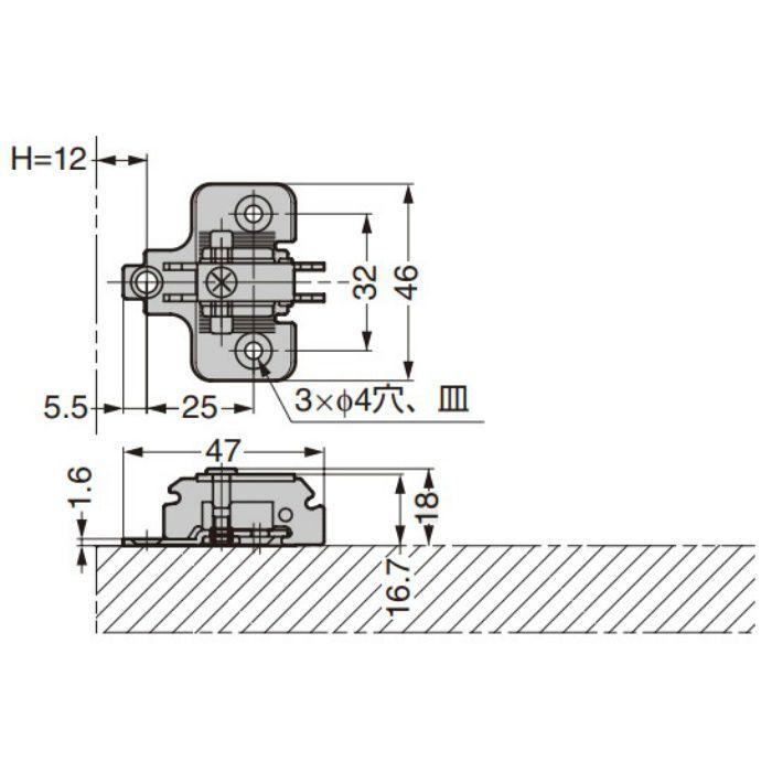 ランプ印 マウンティングプレート 230-P4W-32T+5 230シリーズ システム32 +5mm厚 230-P4W-32T+5