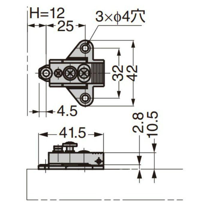 ランプ印 マウンティングプレート 100-04A-W-32 100シリーズ システム32 100-04A-W-32