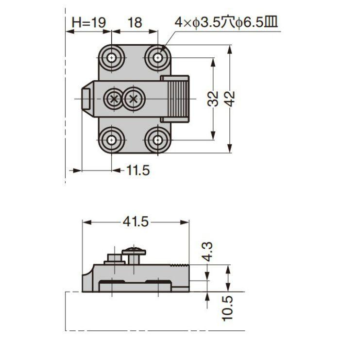 ランプ印 マウンティングプレート 100-06 100シリーズ システム32 4つ穴タイプ 100-06