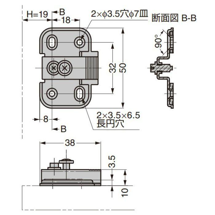 ランプ印 マウンティングプレート 100-P6 100シリーズ システム32 4つ穴タイプ 100-P6