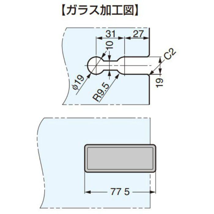 ランプ印 キャッチ付ガラス丁番 XL-GC07-CR かぶせ扉用 XL-GC07-CR