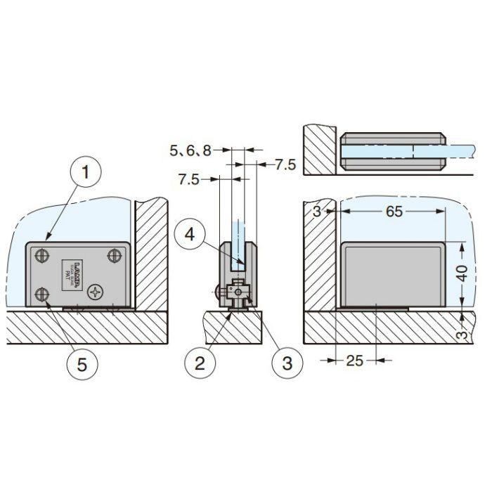 ランプ印 ガラス丁番 XL-GC04-CR インセット扉用 2ヶ XL-GC04-CR