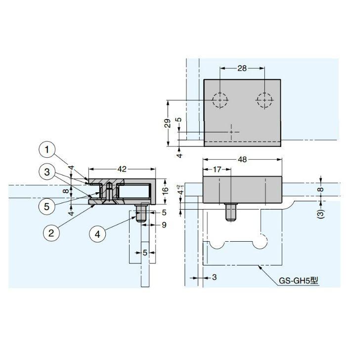 ランプ印 天板ガラス受 GS-GB5型 GS-GB5-L-GP
