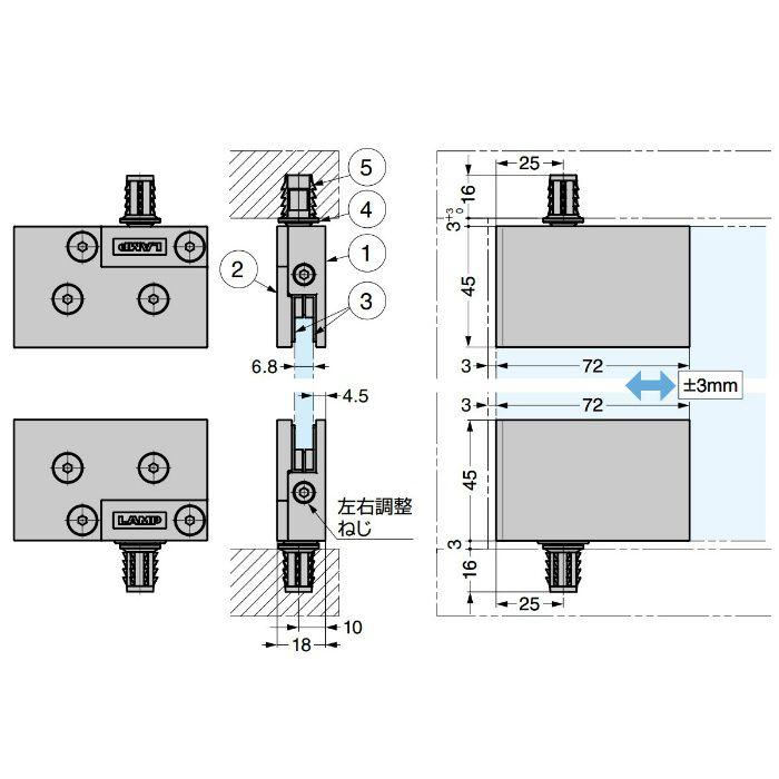 ランプ印 ガラス丁番 GS-GH20型 インセット扉用 2ヶ GS-GH20-CR