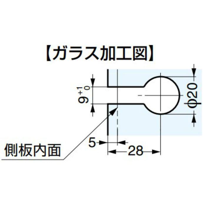ランプ印 キャッチ付ガラス丁番 GH-456C型 かぶせ扉用 GH-456C-SN